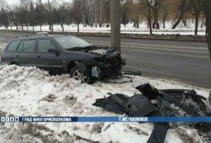 На Харьковской Peugeot вылетел с дороги и врезался в дерево и столб